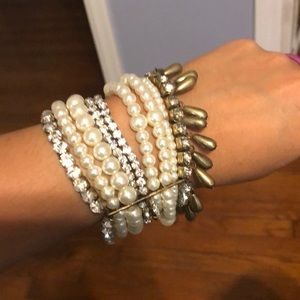 Pearl, beads, and rhinestone bracelet.